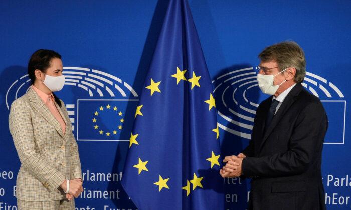 Belarusian opposition leader Sviatlana Tsikhanouskaya meets with European Parliament President David Sassoli, in Brussels, on Sept. 21, 2020. (Johanna Geron/Reuters)