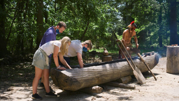 Jamestown Settlement_Powhatan Indian village_dugout canoe-2