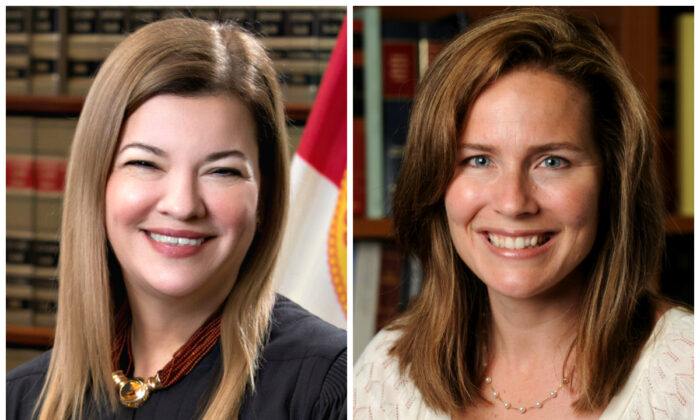 Then-Florida Supreme Court Justice Barbara Lagoa (L) and U.S. Court of Appeals for the Seventh Circuit Judge Amy Coney Barrett in file photographs. (Florida Supreme Court and Notre Dame University/Handout via Reuters)