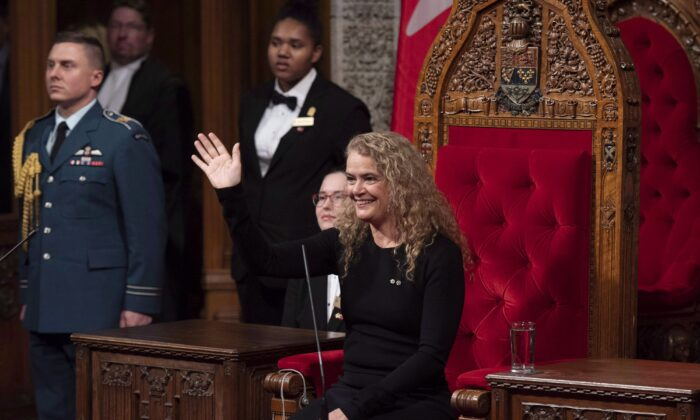 Gov. Gen. Julie Payette waves towards the gallery as she participates in a Royal Assent ceremony in the Senate Chamber on Parliament Hill on Thursday, Dec. 13, 2018. The speech from the throne marks the beginning of every new Parliament, which comes after a general election, as is the case this year, or following a prorogation. It is read in the Senate by the Governor General, who this time around is Julie Payette, a former astronaut who is reading the speech for the first time since she was named to the vice-regal post in 2017.The Canadian Press/Justin Tang