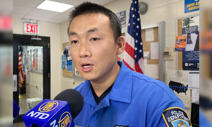 NYPD officer Baimadajie Angwang in an interview with NTD in Queens, New York, on Nov. 8, 2019. (The Epoch Times)
