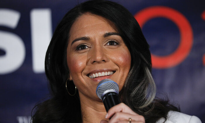 Democratic presidential candidate U.S. Representative Tulsi Gabbard (D-HI) holds a Town Hall meeting on Super Tuesday Primary night in Detroit, Mich. on March 3, 2020. (Bill Pugliano/Getty Images)