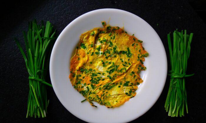 Nancy's chive pancake—technically more an omelet than pancake. (Ari LeVaux)