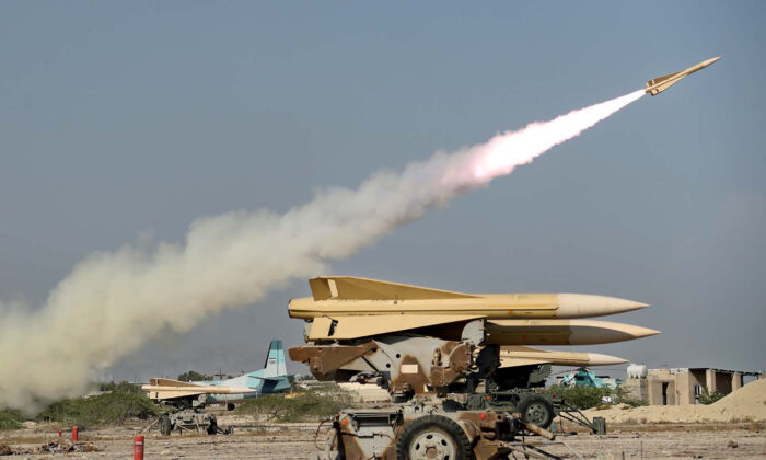 A handout picture provided by the Iranian Army official website on Sept.10, 2020, shows an Iranian Shalamcheh missile being fired during a military exercise in the Gulf, near the  strategic strait of Hormuz in southern Iran. (-/Iranian Army office/AFP via Getty Images)