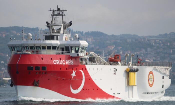 Turkish seismic research vessel Oruc Reis sails in the Bosphorus in Istanbul, Turkey, Oct. 3, 2018. (Yoruk Isik/File Photo/Reuters)