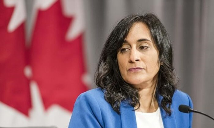 Anita Anand, Minister of Public Services and Procurement makes an announcement regarding vaccine procurement, in Toronto, on Aug. 5, 2020. (The Canadian Press/Christopher Katsarov)