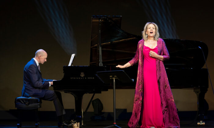 "Renée Fleming recording ""For the Love of Lyric"" at The Barns at Wolf Trap, Aug. 14, 2020 with Robert Ainsley at the piano. (Todd Rosenberg)"