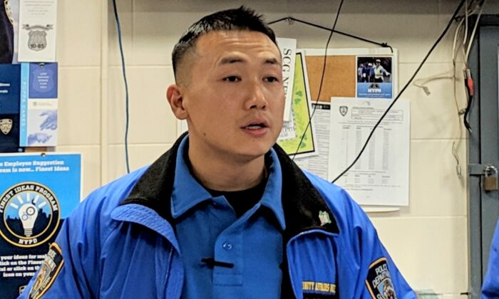 NYPD officer Baimadajie Angwang speaks at a press conference in New York on Feb. 7, 2019. (The Epoch Times)