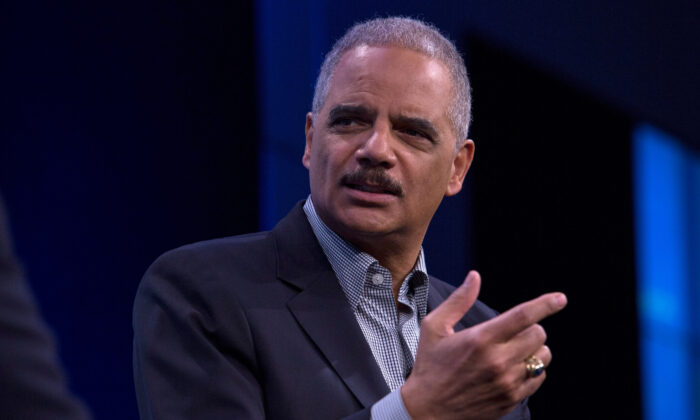 Former Attorney General Eric Holder during an interview at the Washington Post in Washington, D.C., on Feb. 27, 2018. (Toya Sarno Jordan/Getty Images)