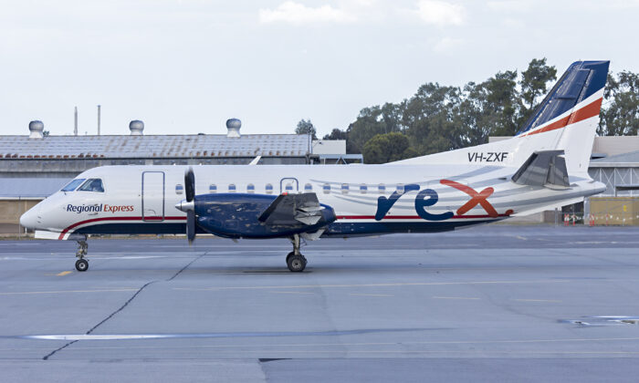 Regional Express Airlines now wearing REX livery over the ex US Airways Express, Saab 340B at Wagga Wagga Airport on Oct. 30, 2016.