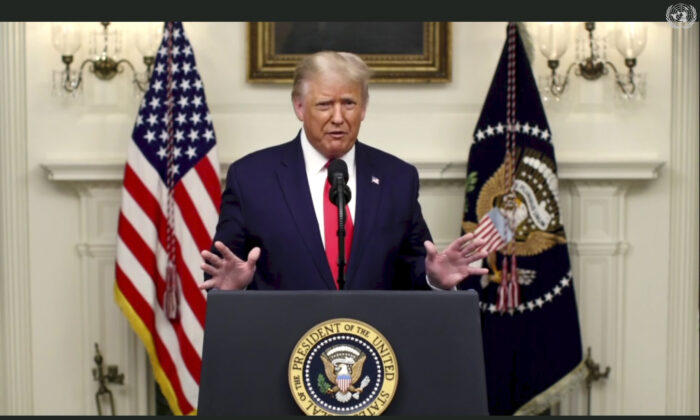 President Donald Trump speaks in a pre-recorded message which was played during the 75th session of the United Nations General Assembly, at the United Nations headquarters in New York City on  Sept. 22, 2020. (UNTV via AP)