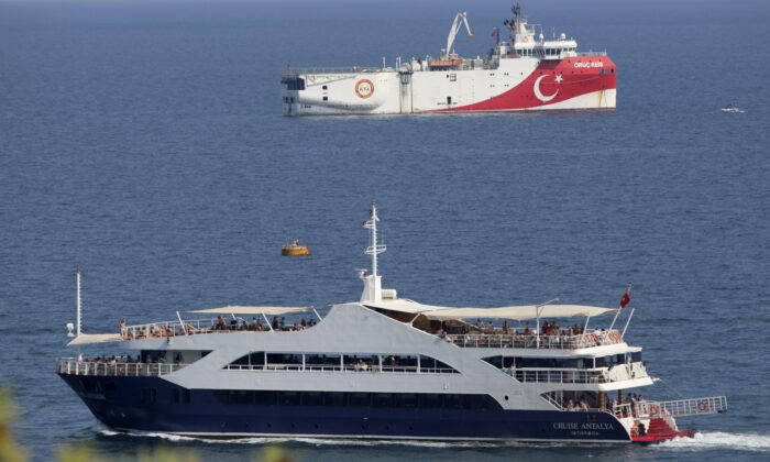 Turkey's research vessel, Oruc Reis, rear, anchored off the coast of Antalya on the Mediterranean, Turkey on Sept. 13, 2020. (Burhan Ozbilici/AP)