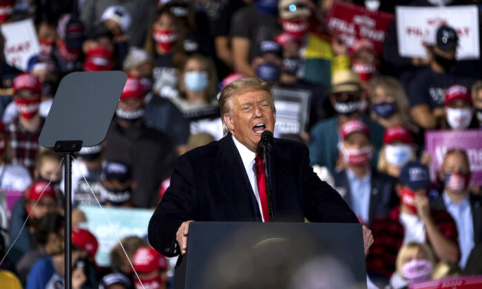 President Donald Trump speaks during a campaign rally at the Toledo Express Airport in Swanton, Ohio, on Sept. 21, 2020. (Matthew Hatcher/Getty Images)