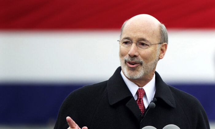 Pennsylvania Gov. Tom Wolf delivers a speech after being sworn in as the 47th Governor of Pennsylvania during an inauguration at the State Capitol in Harrisburg, Penn., on Jan. 20, 2015. (Mark Makela/Reuters)