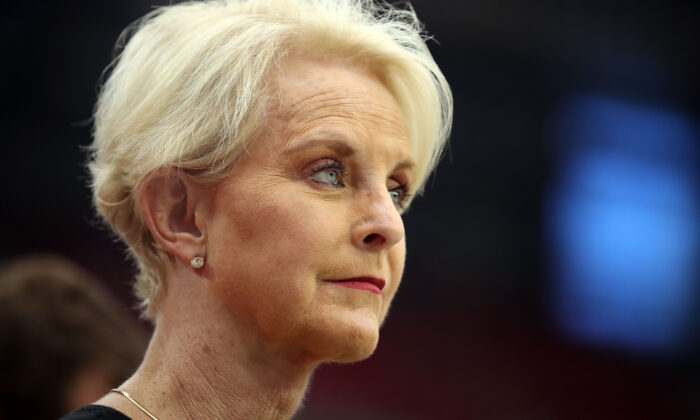 Cindy McCain, wife of the late Sen. John McCain (R-Ariz.) stands on the sidelines before the game between the Arizona Cardinals and the Washington Redskins at State Farm Stadium in Glendale, Ariz., on Sept. 9, 2018. (Christian Petersen/Getty Images)
