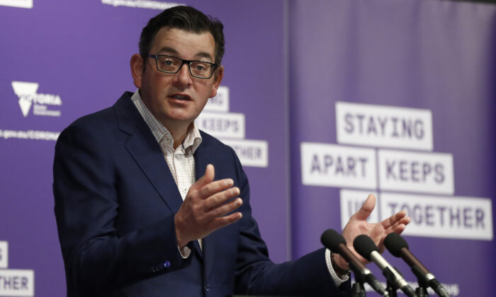 Victoria Premier Daniel Andrews speaks to the media at the daily briefing in Melbourne, Australia on Sept. 11, 2020. (Darrian Traynor/Getty Images)