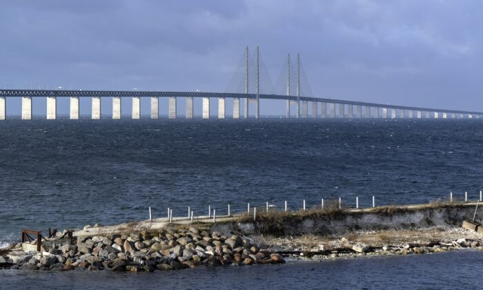 The Oresund bridge pictured from Lernacken on the Swedish side of the Oresund strait on Nov. 12, 2015. (Erland Vinberg/AFP via Getty Images)