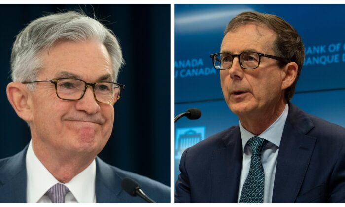 Federal Reserve Chair Jerome H. Powell (L) announces a half percentage point interest rate cut during a speech in Washington, D.C., on March 3, 2020. (Mark Makela/Getty Images) Bank of Canada Governor Tiff Macklem speaks during a news conference in Ottawa on July 15, 2020. (The Canadian Press/Adrian Wyld)