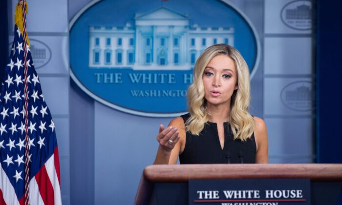 White House Press Secretary Kayleigh McEnany holds a press briefing in the Brady Briefing Room of the White House in Washington, on Sept. 22, 2020. (Saul Loeb/AFP via Getty Images)