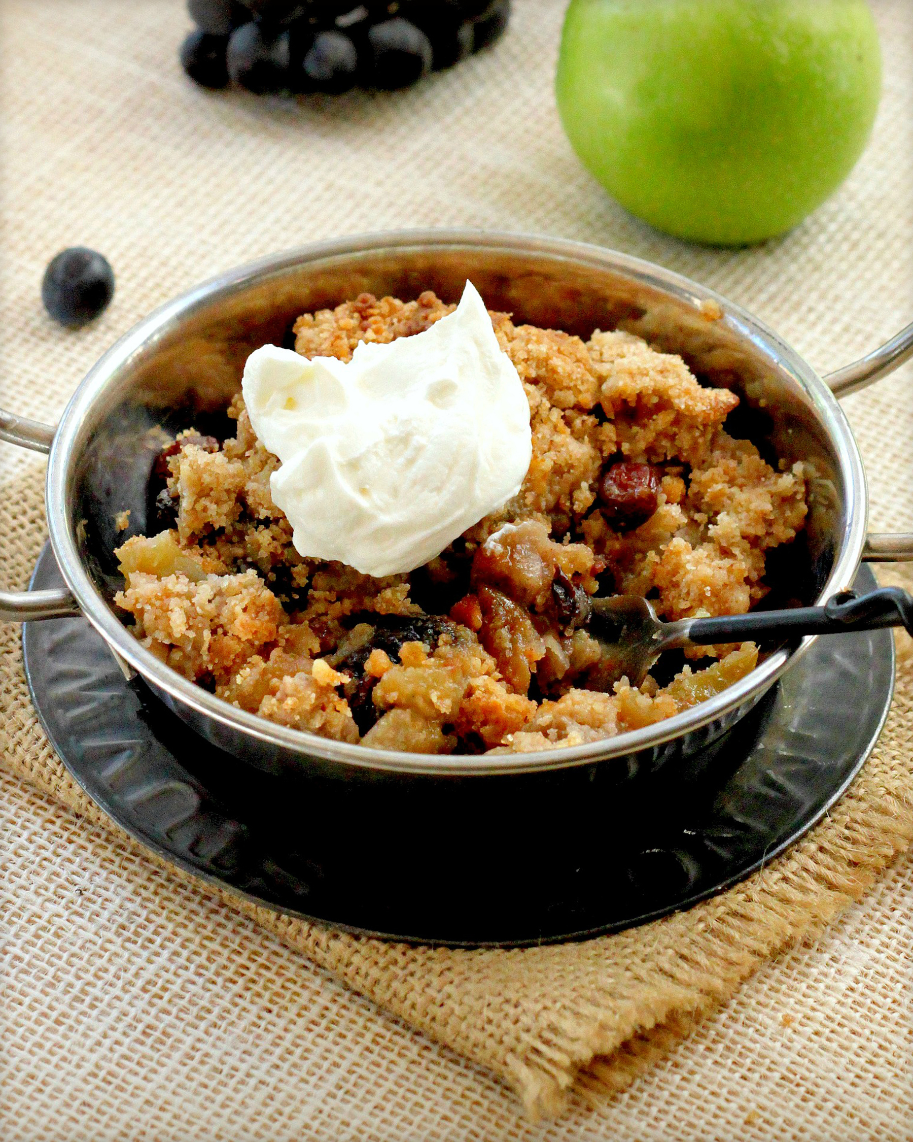 Apple Raisin Crisp With Calvados Cream