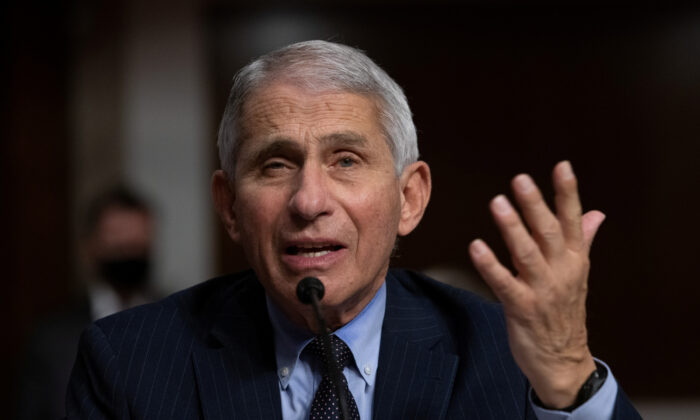 Dr. Anthony Fauci, head of the National Institute of Allergy and Infectious Diseases, speaks during a Senate Senate Health, Education, Labor, and Pensions Committee hearing in Washington on Sept. 23, 2020. (Graeme Jennings/Pool via Reuters)