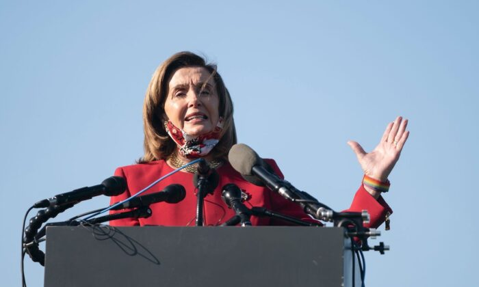 House Speaker Nancy Pelosi (D-Calif.) speaks at the National Mall in Washington on Sept. 22, 2020. (Alex Edelman/AFP via Getty Images)