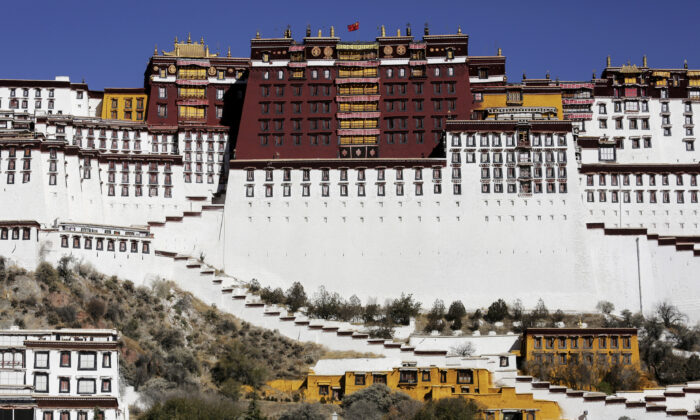 A paramilitary policeman stands guard in front of the Potala Palace in Lhasa, Tibet, on Nov. 17, 2015. (Damir Sagolj/File Photo/Reuters)