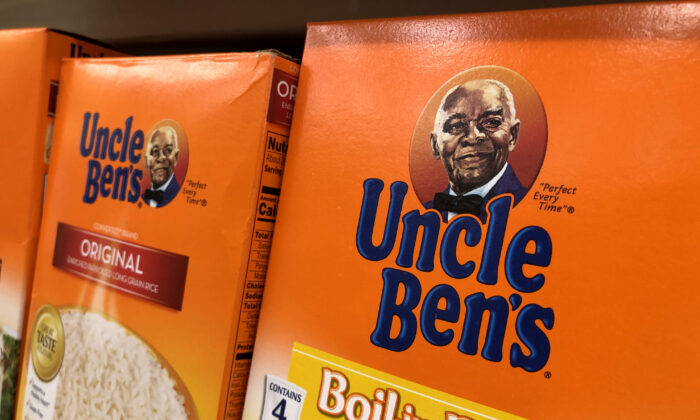Boxes of Uncle Ben's rice are displayed on a shelf at a Safeway store in San Anselmo, Calif., on June 17, 2020. (Justin Sullivan/Getty Images)