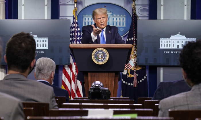 President Donald Trump speaks during a news conference in the briefing room of the White House in Washington on Sept. 23, 2020. (Joshua Roberts/Getty Images)