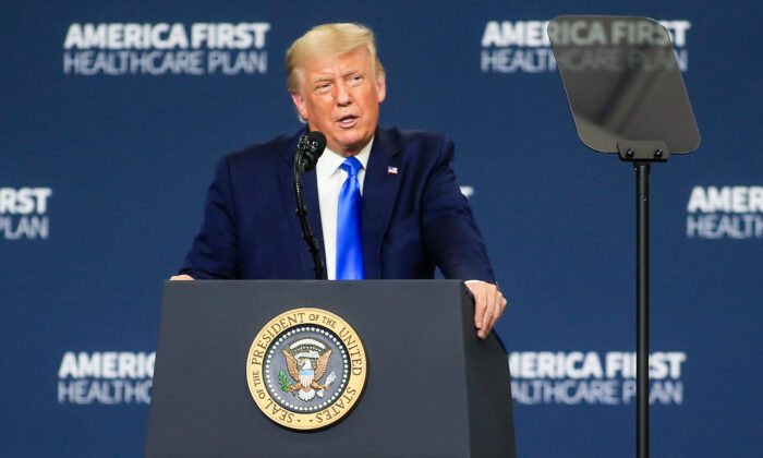 President Donald Trump delivers remarks on his health care policies in Charlotte, N.C., on Sept. 24, 2020. (Brian Blanco/Getty Images)