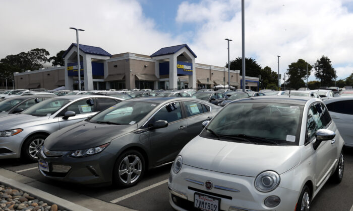 Used vehicles on the sales lot at a CarMax superstore in Colma, Calif., on Sept. 24, 2020. (Justin Sullivan/Getty Images)