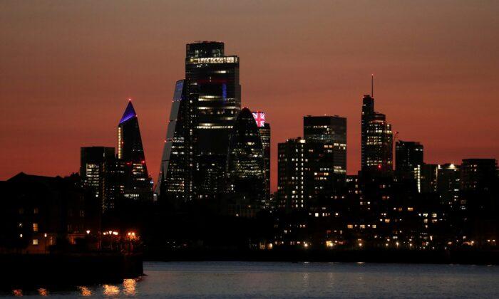 The City of London financial district, Britain, on Sept. 13, 2020. (Simon Dawson/Reuters)
