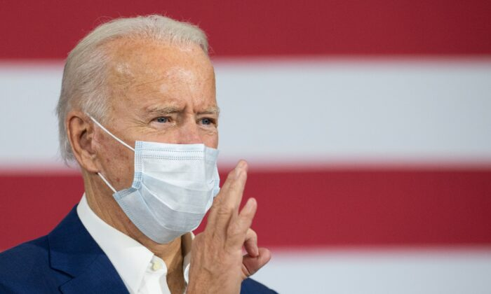 Democratic presidential nominee Joe Biden makes comments while in Manitowoc, Wis., on Sept. 21, 2020. (Jim Watson/AFP via Getty Images)