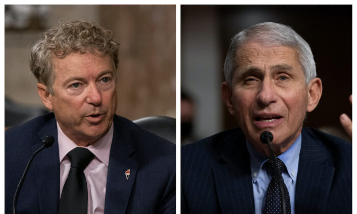 (L) Sen. Rand Paul (R-Ky.) and (R) Dr. Anthony Fauci at a Senate hearing on the federal response to COVID-19, at the U.S. Capitol in Washington, on Sept. 23, 2020. (L: Alex Edelman R: Graeme Jennings/Pool via Reuters)