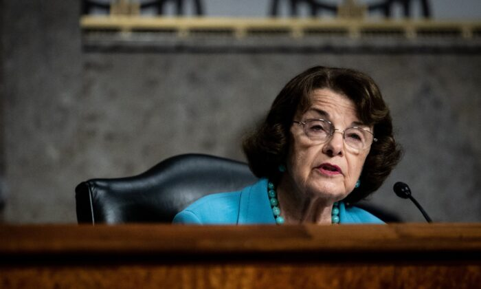Senate Judiciary Ranking Member Dianne Feinstein (D-Calif.) speaks during a hearing in Washington on Aug. 5, 2020. (Erin Schaff/Pool/AFP via Getty Images)