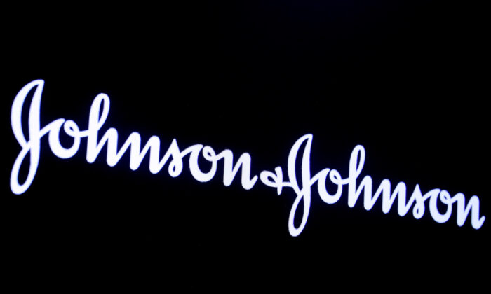 The company logo for Johnson & Johnson at the New York Stock Exchange in New York, on Sept. 17, 2019. (Brendan McDermid/Reuters)