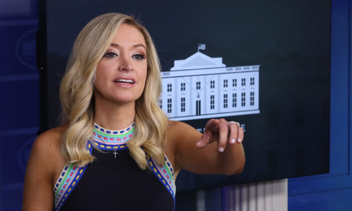White House Press Secretary Kayleigh McEnany holds a news conference at the White House, in Washington, on Sept. 24, 2020. (Chip Somodevilla/Getty Images)