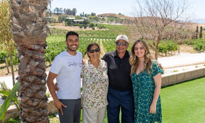 The Patel family of Akash Winery in Temecula, Calif. (Courtesy of Akash Winery)