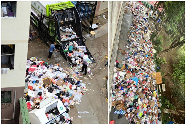 Trash piling up outside dormitories at Guangzhou Institute of Technology  in China. (Supplied)