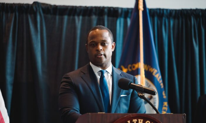 Kentucky Attorney General Daniel Cameron speaks during a press conference to announce a grand jury's decision to indict one of three Louisville Metro Police Department officers involved in the shooting death of Breonna Taylor, in Frankfort, Ky., Sept. 23, 2020. (Jon Cherry/Getty Images)