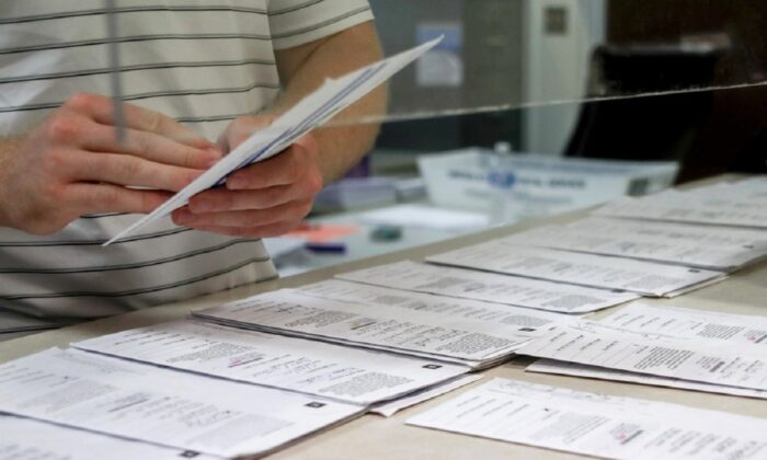 Processing work on mail in ballots for the Pennsylvania Primary election is being done at the Butler County Bureau of Elections, in Butler, Pa., on May 28, 2020. (Keith Srakocic/AP Photo)