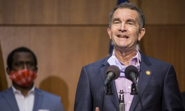 Virginia Gov. Ralph Northam speaks to reporters in Richmond, Va., on June 4, 2020. (Zach Gibson/Getty Images)