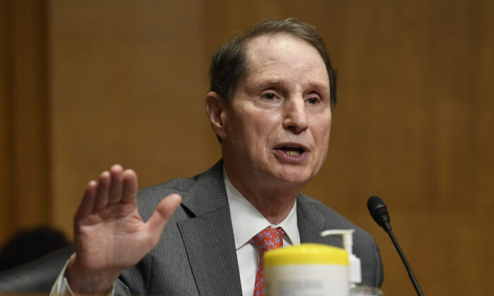 Sen. Ron Wyden (D-Ore.) speaks during a hearing in Washington on June 30, 2020. (Susan Walsh/Pool/Getty Images)