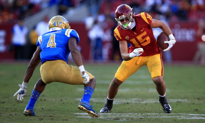 The University of Southern California (USC) Trojans play football against the University of California–Los Angeles (UCLA) Bruins at Los Angeles Memorial Coliseum in Los Angeles, Calif., on Nov. 23, 2019. (Sean M. Haffey/Getty Images)