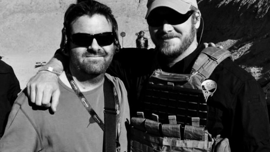 """two men in sunglasses with beards in """"American Sniper"""""""