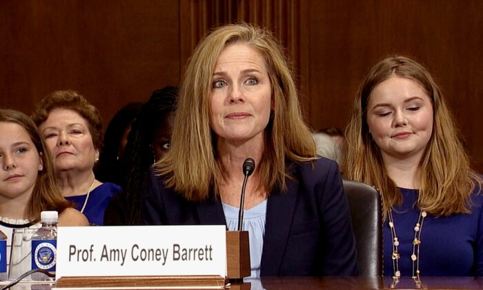 Amy Coney Barrett during a Senate confirmation hearing to be U.S. circuit judge on Aug. 4, 2017. (Screenshot via Senate TV)