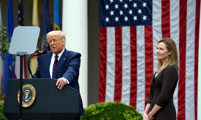 President Donald Trump announces his U.S. Supreme Court nominee, Judge Amy Coney Barrett (R), in the Rose Garden of the White House in Washington, on Sept. 26, 2020. (Olivier Douliery/AFP via Getty Images)