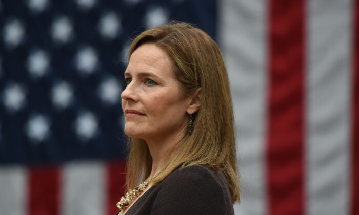 Judge Amy Coney Barrett listens during her nomination to the Supreme Court, in Washington on Sept. 26, 2020. (Olivier Douliery/AFP via Getty Images)