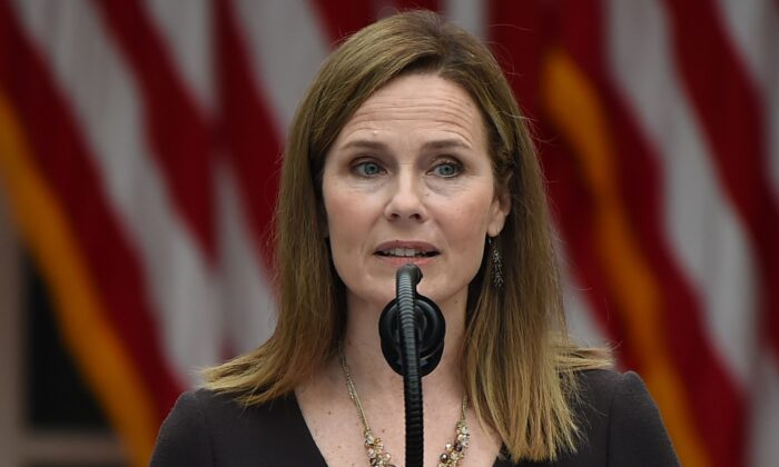 Judge Amy Coney Barrett speaks after being nominated to the U.S. Supreme Court by President Donald Trump in the Rose Garden of the White House in Washington, on Sept. 26, 2020. (Olivier Douliery/AFP via Getty Images)