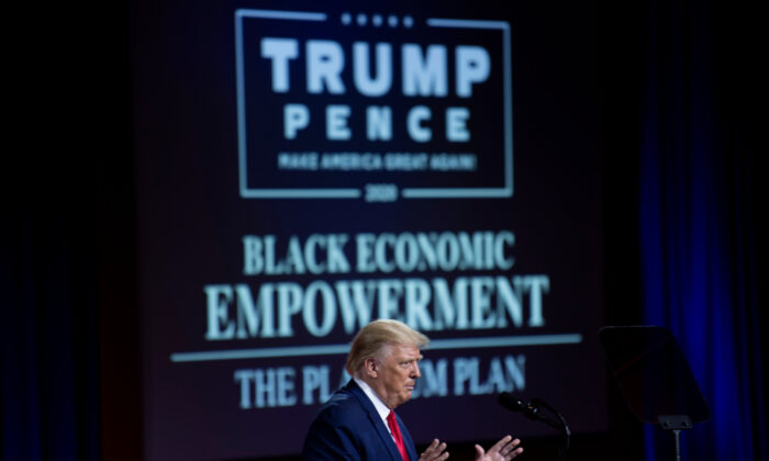 President Donald Trump speaks during an event for black supporters at the Cobb Galleria Centre in Atlanta, Georgia, on Sept. 25, 2020,. (Brendan Smialowski/AFP via Getty Images)